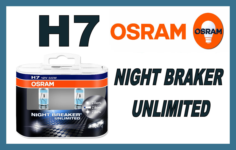 KIT 2 LAMPADINE H7 OSRAM 12V 55W LAMPADINA NIGHT BRAKER UNLIMITED LUCE BIANCA  eBay